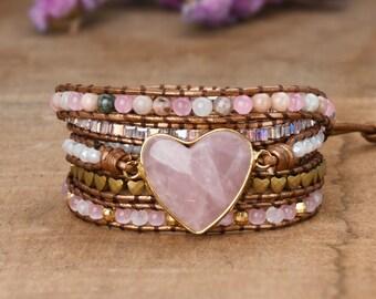 Rose Quartz Heart Bracelet, Healing Gemstone Wrap Bracelet, Crystal Quartz Leather Bracelet, Inspiring Love Beaded Bracelet, Yoga Bracelet