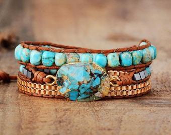 Leather Turquoise Bracelet-Turquoise Gemstone Bracelet-Natural Stone Healing Bracelet-Healing Crystal Bracelet -Leather 3 Wrap Yoga Bracelet