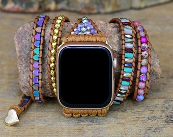 Intense Love Protection Apple Watch Strap, Imperial Jasper Leather Wrap Iwatch Band, Multi Wrap Bracelet for Apple Watch 38-44mm Band