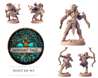 Elf scout set - Get FREE Wooden RPG engraved BOX!  DnD miniatures   Dungeons and dragons D&D tabletop