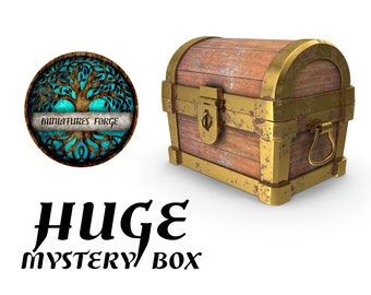 Huge mystery miniature box  - Get FREE Wooden RPG engraved BOX!  DnD miniatures   Dungeons and dragons D&D tabletop