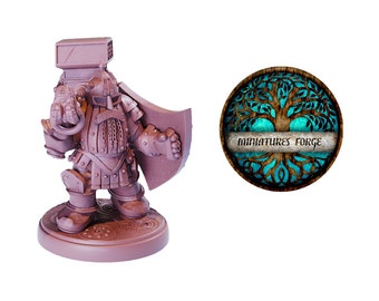 Em Steel Dwarf Shield miniature  - Get FREE Wooden RPG engraved BOX!  DnD miniatures   Dungeons and dragons D&D tabletop