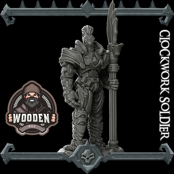 Dungeons and dragons D/&D tabletop miniatures Clockwork spider  50mm base Get FREE Wooden RPG engraved BOX DnD miniatures