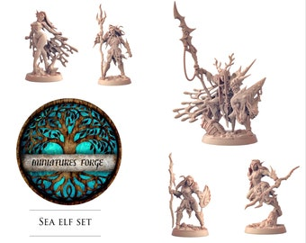 Sea elf  set - Get FREE Wooden RPG engraved BOX!  DnD miniatures   Dungeons and dragons D&D tabletop