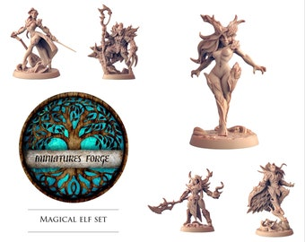 Magical elf set - Get FREE Wooden RPG engraved BOX!  DnD miniatures   Dungeons and dragons D&D tabletop