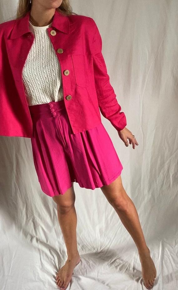 Vintage Hot Pink Linen Jacket, 1980s Valerie Steve