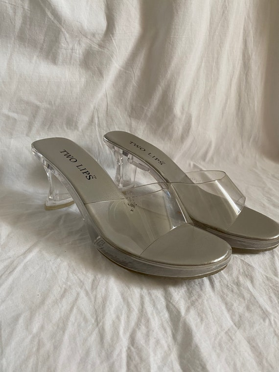 SIZE 7 // 1990s Clear Plastic Two Lips Mules - image 7