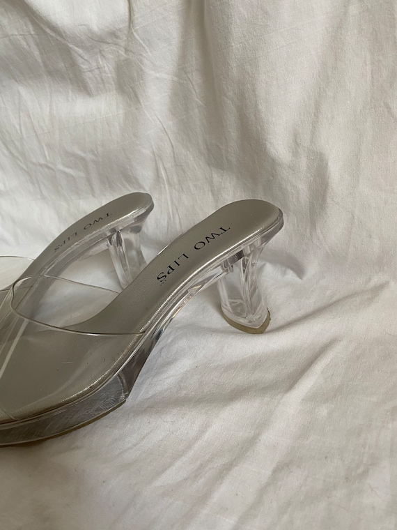 SIZE 7 // 1990s Clear Plastic Two Lips Mules - image 3