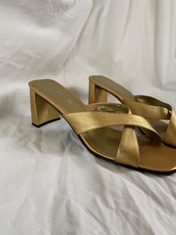 Vintage Unisa Europa Gold Mules, 1990s Square Toe… - image 2