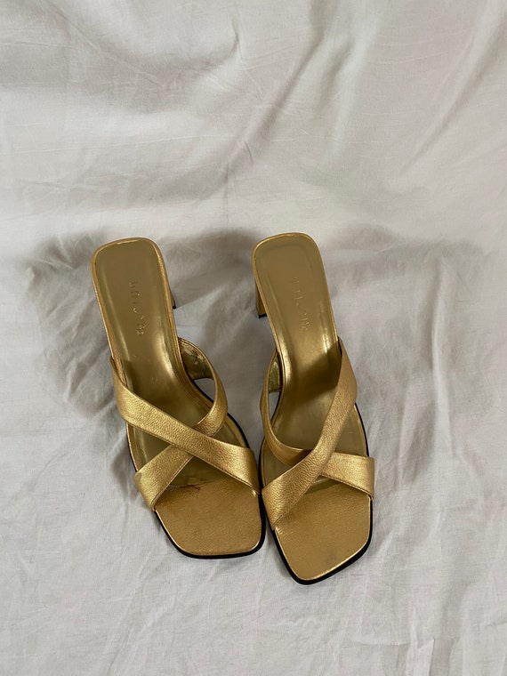 Vintage Unisa Europa Gold Mules, 1990s Square Toe… - image 4