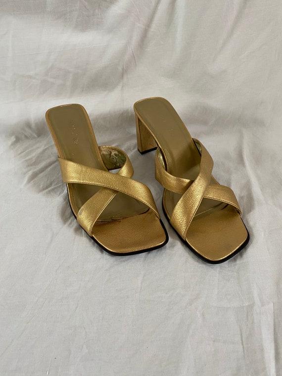 Vintage Unisa Europa Gold Mules, 1990s Square Toe… - image 1