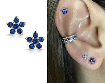 16g 18g 20g 22g 24g Gold Gemstone Multicolor Sapphire Briolette Helix Piercing-Nose-Tragus-Conch Ring-September/'s Birthstone-Valentine\u2019s Day