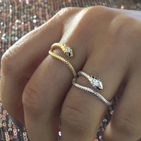 Bohemian Snake Ring 925 Sterling Silver Statement rings Serpent ring Adjustable ring