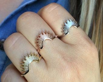 Sterling Silver Sunburst ring, Sunburst ring, Sun ring,Rising sun ring,Celestial ring, Gold dainty ring, spike ring, curved ring, star ring