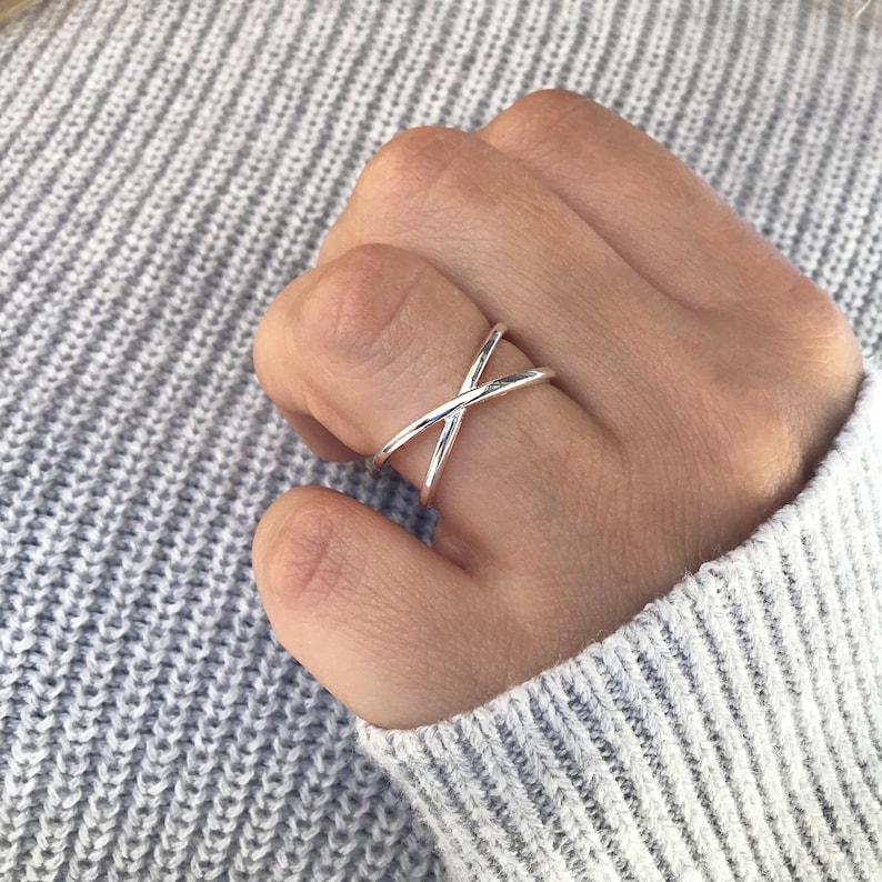 Wrapped wire ring silver ring knuckle ring criss cross statement ring Sterling Silver X ring dainty ring open ring adjustable ring