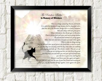 Pet Memorial Poem RAINBOW BRIDGE Cat's Stairway to Heaven Personalized Art Print Gift .