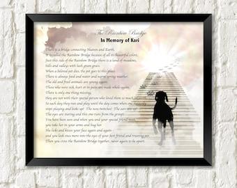 Pet Memorial Poem RAINBOW BRIDGE Dog's Stairway to Heaven Personalized Art Print Gift .