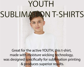 Youth, Kids, Blank T-Shirts, tee-shirts, Blank, sublimation shirts, 100% polyester, Super Soft Feel
