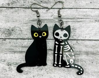 Cat Earrings / Halloween Earrings / Skeleton / Mismatched Acrylic Earrings