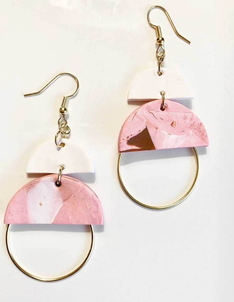 Polymer Clay  Small Dangle Statement Earrings  Summer Colors