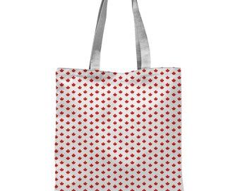 Shopping Bag Canada Maple Leaf Print Tote Bag Handbag Travel Canvas Canadian Beach Bag
