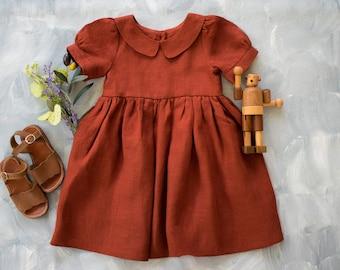 Girls Christmas Dress White Baby Dress Red Linen Dress Flower Girl Dress