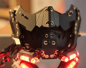 "Cyberpunk mask Techwear mask LED Light   Design By Gins MK. 10 ""RONIN"""