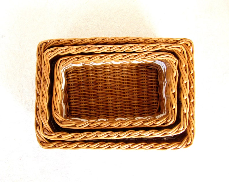 Wicker rectangular basket  Wicker storage box Rustic desk accessories