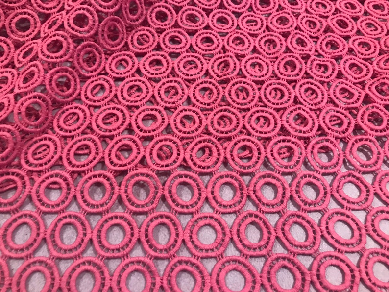 Rose pink Corded Embroidery Lace Fabric 50\u201d Width Sold By The Yard