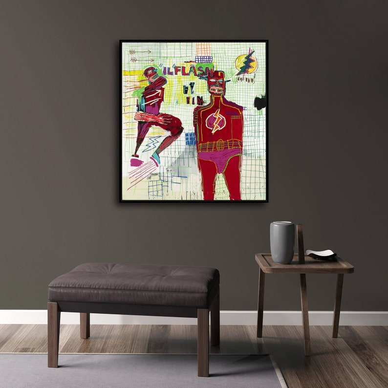 Jean-Michel Basquiat Flash New HD print on Canvas ready to hang large size wall Picture or Hand painted oil Painting 26x24 inches