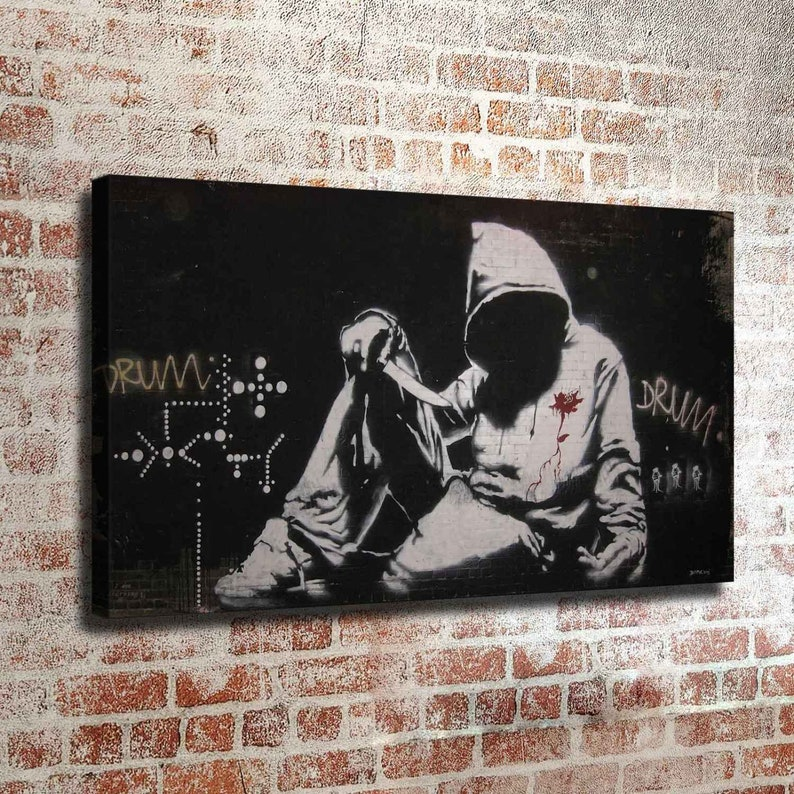 Banksy DRUM New HD print on Canvas ready to hang large size wall picture or handmade oil painting 36x20