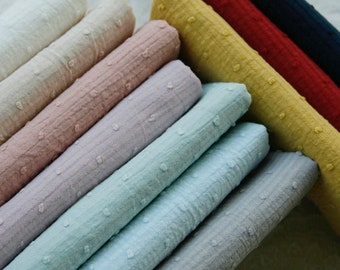 Macaron three-dimensional jacquard crepe pure cotton fabric thin transparent clothing handmade fabric