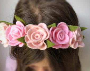 Felt rose flower hairband