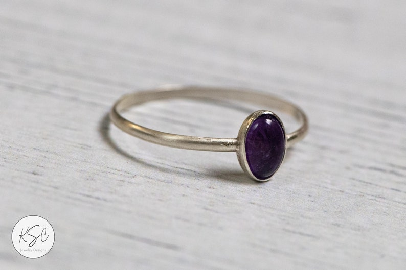 Amethyst Oval Solitaire Ring in Sterling Silver \u2013 February Birthstone