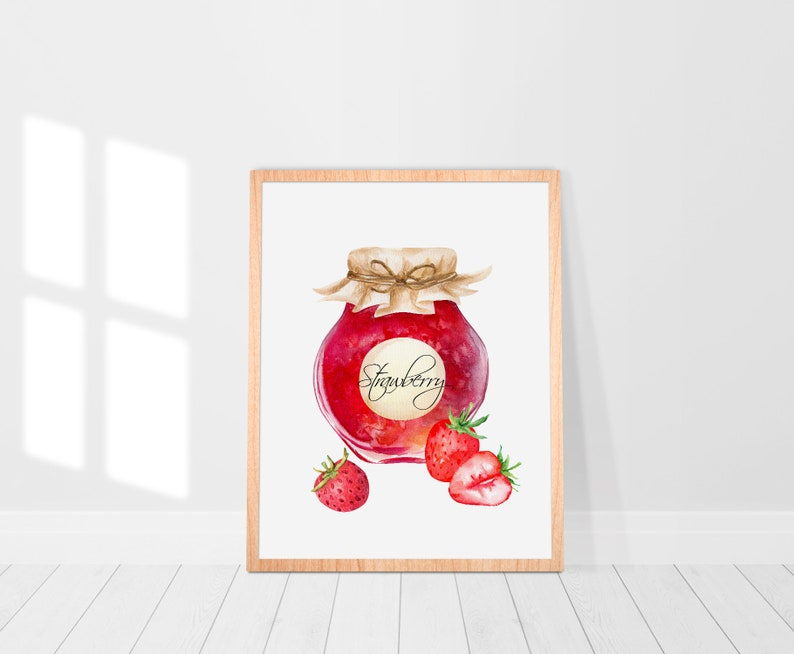 Jam Jar Watercolor Clipart Set Summer Collection Blackcurrant Apricot Watercolor digital Clip art Instant Download Strawberry Cherry