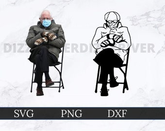 Bernie sitting on chair Bernie Sanders svg png AI EPS vector digital file download Cricut clipart file. Bernie Meme SVG for T shirt