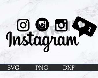 Instagram Logo Bundle SVG | DXF | PNG | Cricut Cut File | Silhouette Cut File | Digital Download | Custom Cut File | Like Button