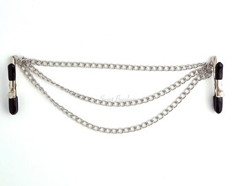 Nipple Clamps in Black, Pink or Silver with Connecting Chain BDSM