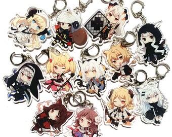 SilverAsh Exusiai SilverAsh Texas Ch/'en Nightingale Lappland 2PCS OF Arknights Online Game Anime Acrylic Keychain Charm AMIYA