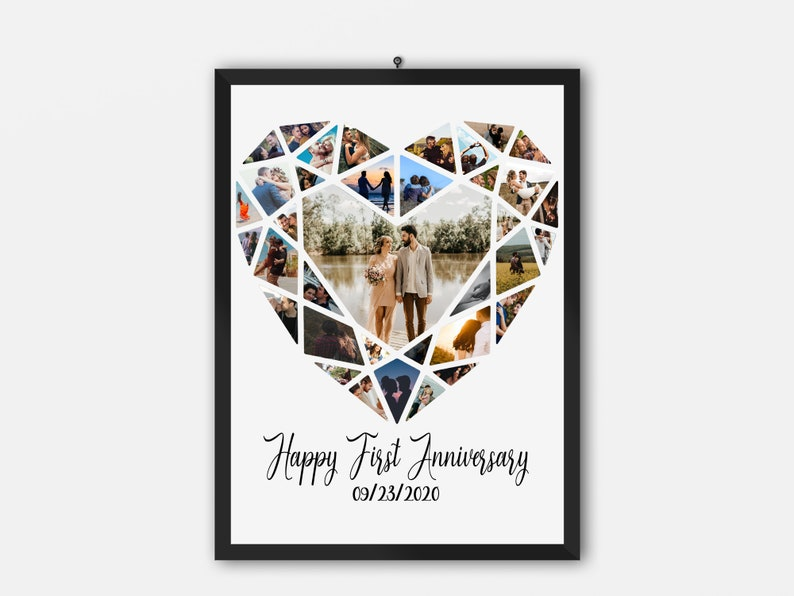 Happy First Anniversary Collage Unique Collage Gifts Photo Collage Heart Gift For Boyfriend Photography Collage Multiple Photo Art