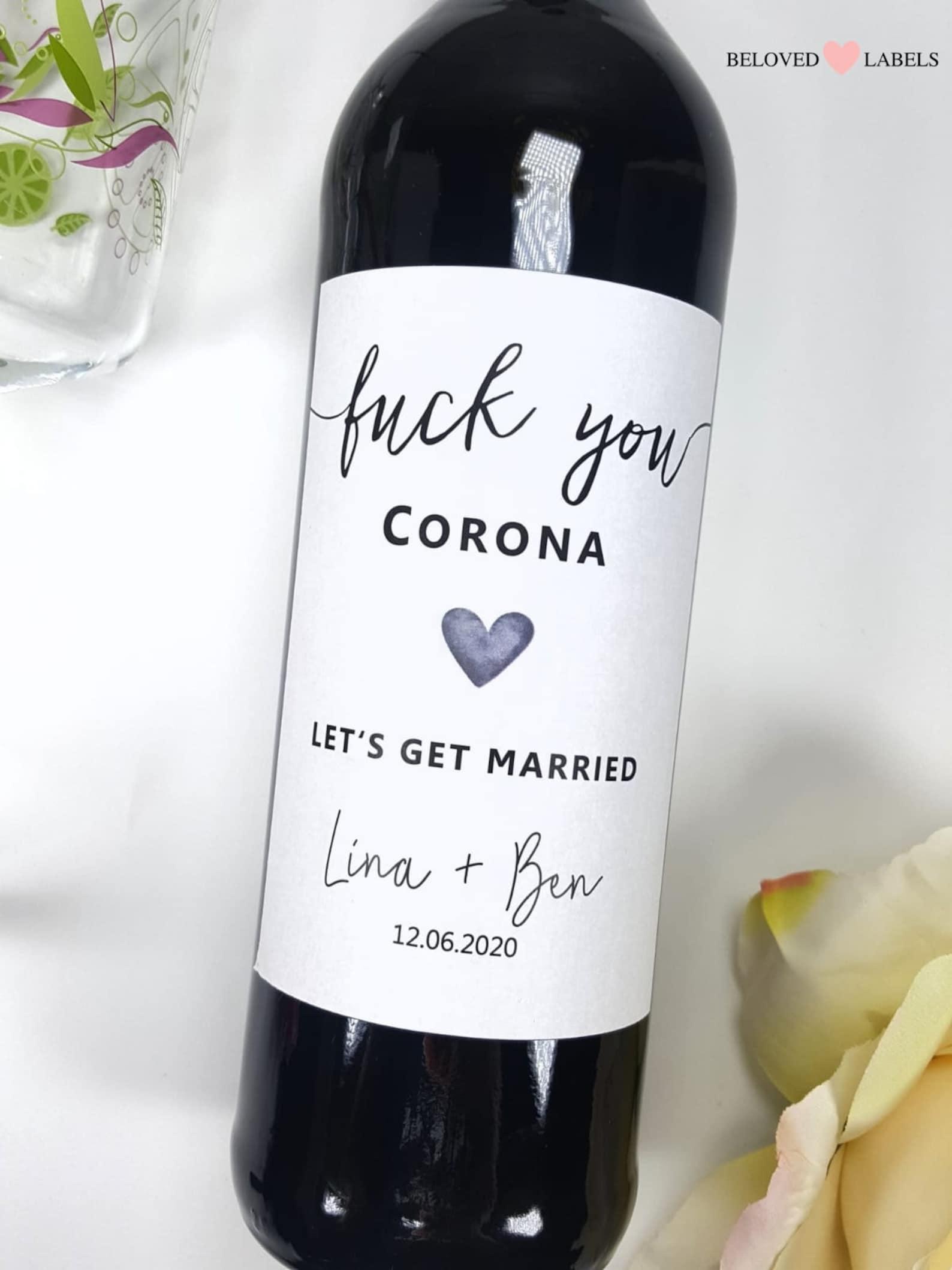 Flaschenetikett F*** you Corona