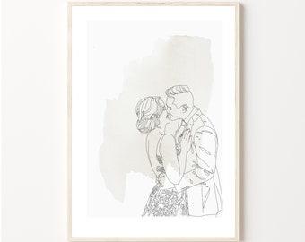 A4 watercolour-Custom wedding portrait  from photo - custom wedding portrait- watercolour effect illustration