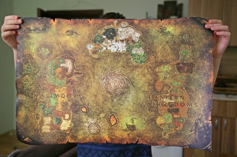 15. World of Warcraft - World Map on a Canvas Scroll | Wall Art