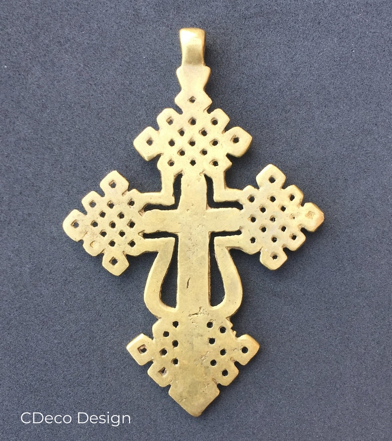 Ethiopian Coptic cross handmade in bronze with the lost wax technique.