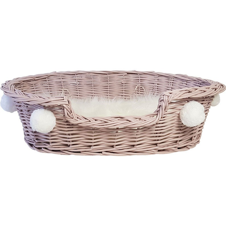 York, Maltese, Shih Tzu, Maine Coon Wicker Bed Cat Dog Wicker Lair with Pompons Bright Roses For Dog,Cat