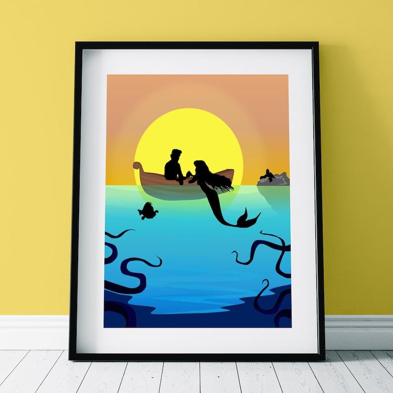 Disney inspired film Print, Graphic Wall Art Poster DISNEY/'S LITTLE MERMAID Character Silhouette Print
