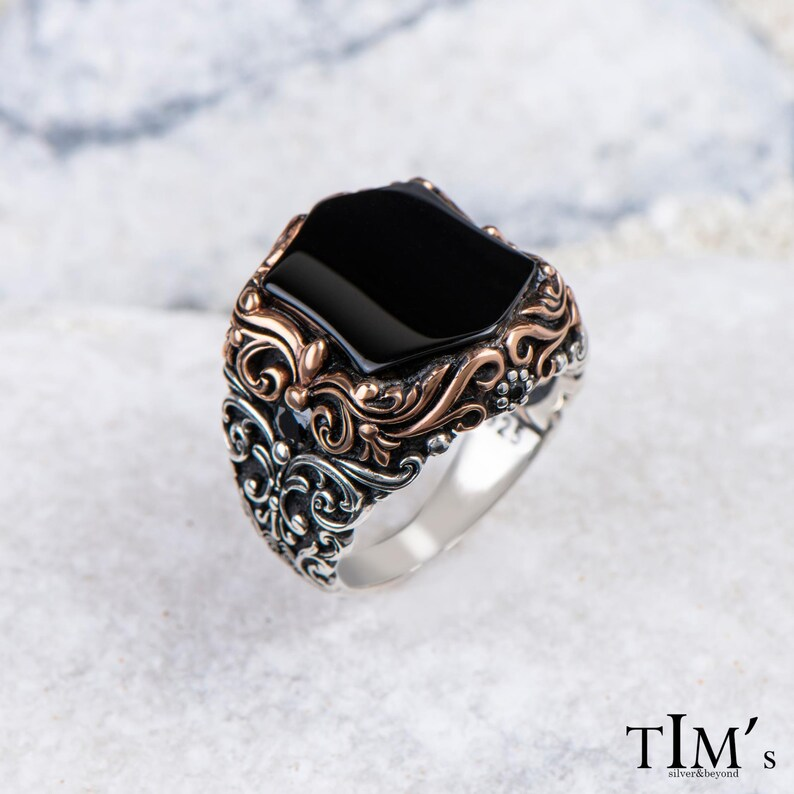 Fantasy Gift Him Men/'s Hexagonal Onyx Ring Turkish Ottoman Jewelry Viking Warrior Manly Infinity Band Black Gemstone Statement Ring
