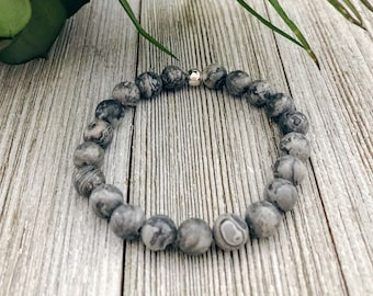 Gray Picasso Bracelet, Protection Bracelet, Gift for Her, Spiritual Gifts, Healing Crystals, Gift for Mom, Bracelets For Women