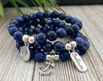 Sodalite Bracelet, Gift For Mom, Bracelets For Women, Protection Bracelet, Gift For Her, Handmade Bracelet, Charm Bracelet