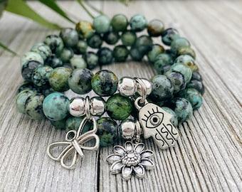 African Turquoise Bracelet / Bracelets For Women / Stretch Bracelet / Gift For Her / Charm Bracelet / Birthday Gift / Beaded Bracelet